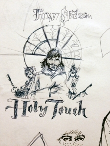 "One of dozens of sketches: The stained-glass window gets prime real-estate here  but the idea ( Nuns with guns behind Rev. Eric Nally) is too much of a derivative of their 'I Like It"" video. Keep on keepin' on."